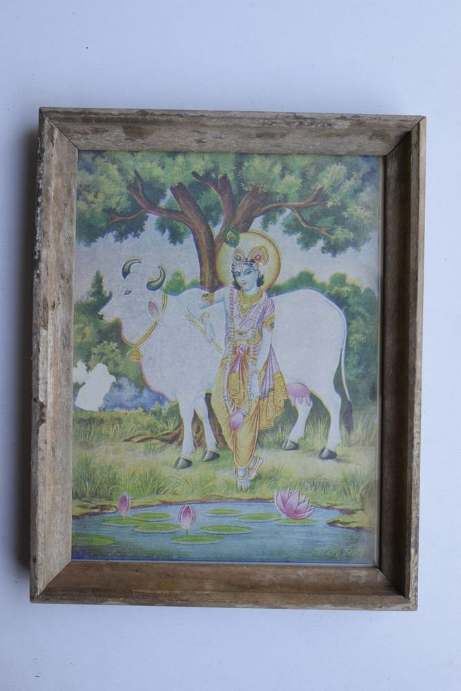 Krishna Collectible Rare Old Art Print in Old Wooden Frame from India #3307