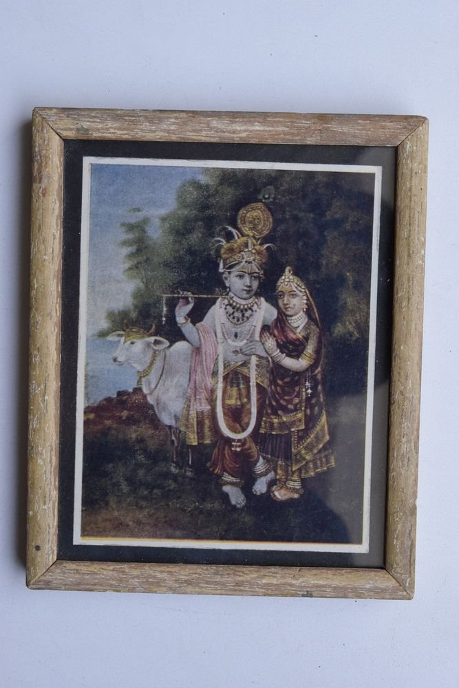 Krishna Collectible Rare Old Art Print in Old Wooden Frame from India #3312