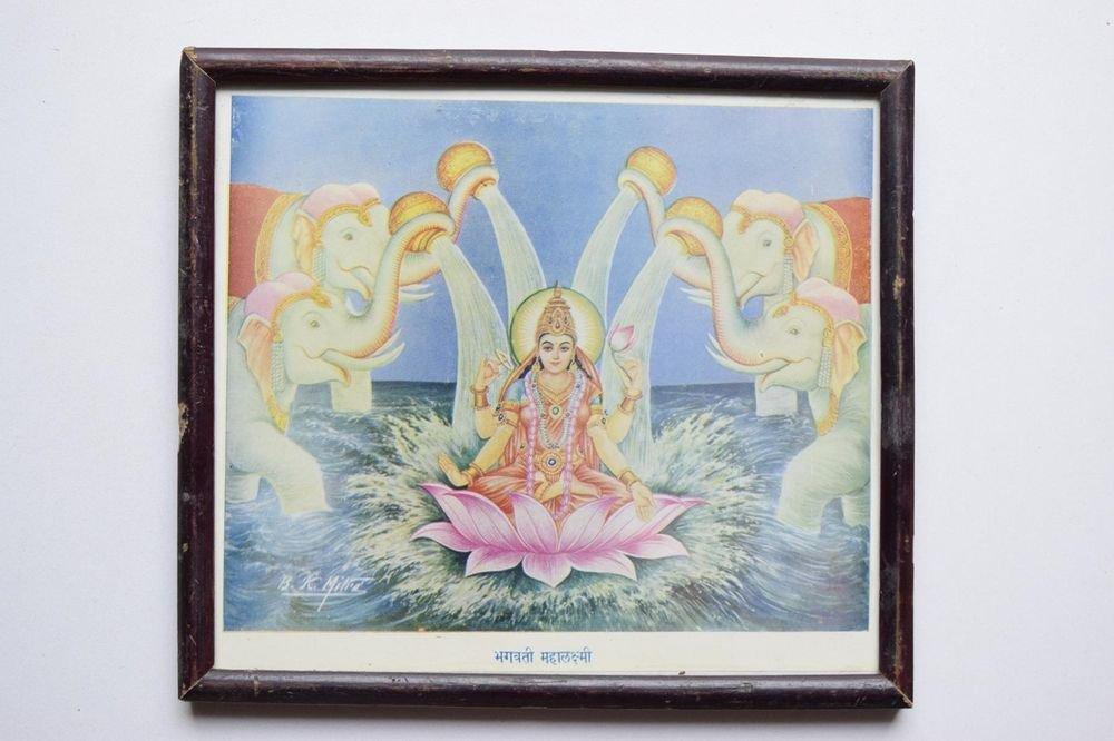 Rare Goddess Laxmi Old Religious Print in Old Wooden Frame India Art #3110