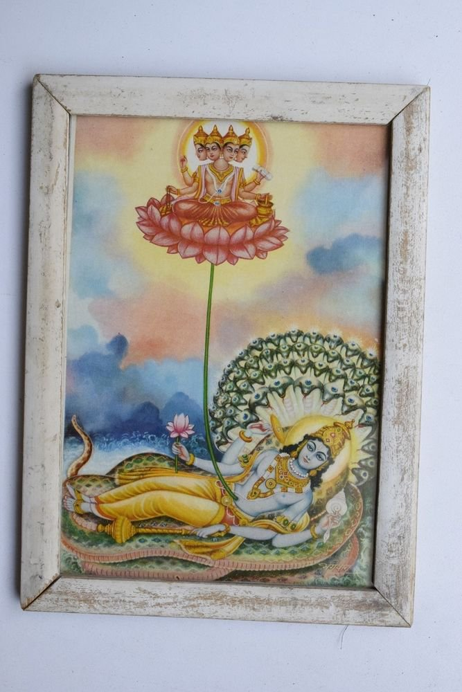 Vishnu Collectible Rare Old Religious Art Print in Old Wooden Frame India #3327