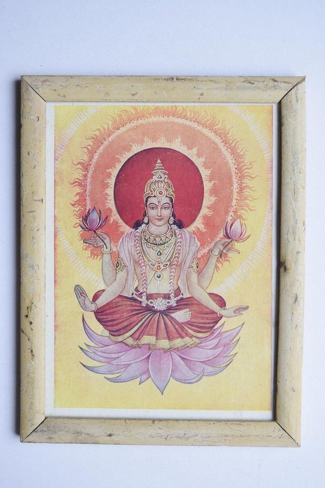Beautiful God Vishnu Old Religious Print in Old Wooden Frame India Art #3112