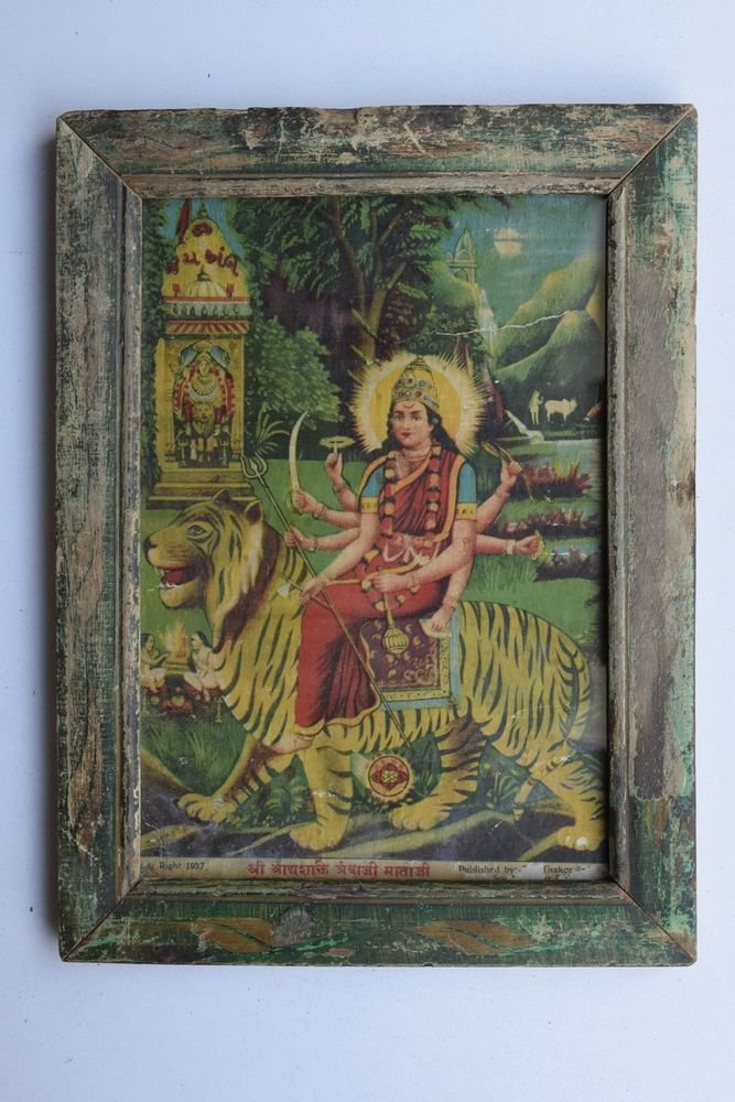 Goddess Amba Collectible Rare Old Religious Art Print in Old Wooden Frame #3335