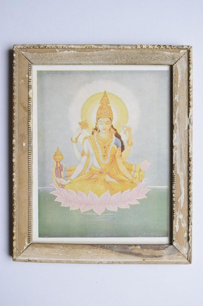 Rare Goddess Laxmi Old Religious Print in Old Wooden Frame India Art #3111