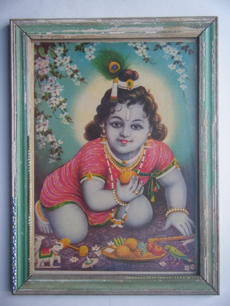 Hindu God Krishna Rare Old Religious Print in Old Wooden Frame India Art #2777
