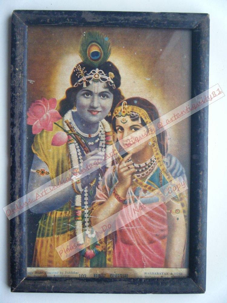 Hindu God Krishna Nice Old Religious Print in Old Wooden Frame India Art #2465