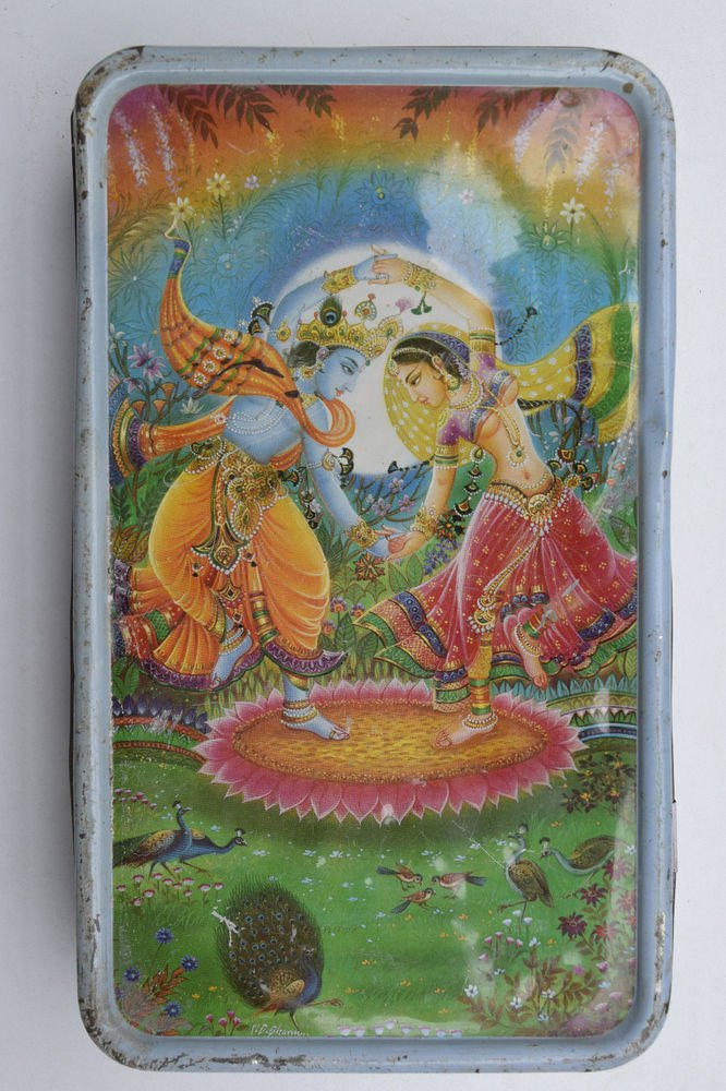 Old Sweets Tin Box, Rare Collectible Litho Printed Tin Boxes India #1444