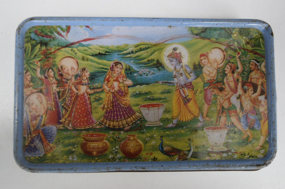 Old Sweets Tin Box, Rare Collectible Litho Printed Tin Boxes India #1436