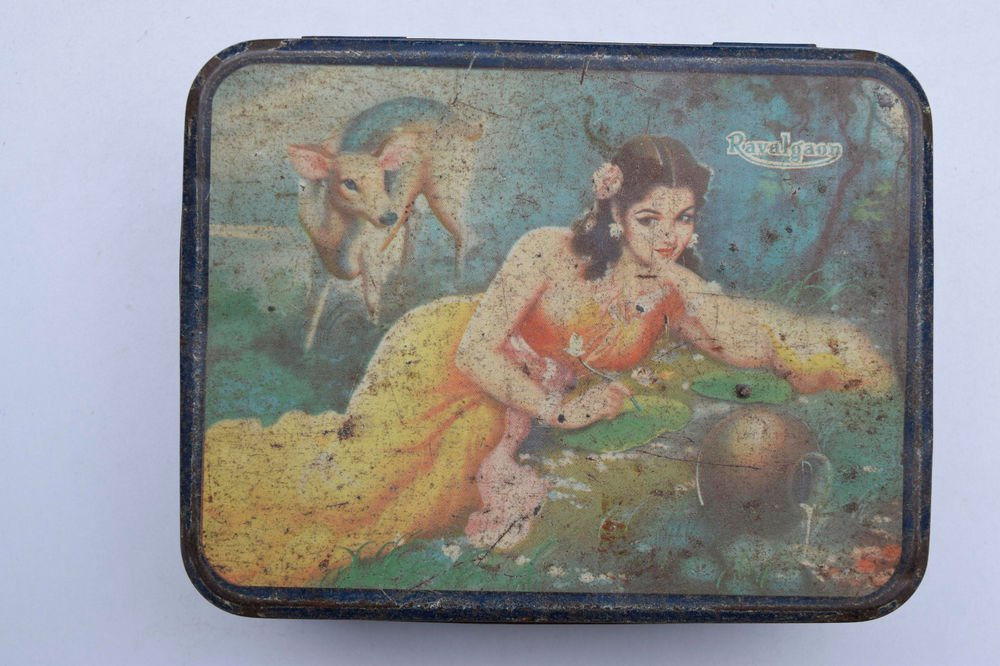 Old Sweets Tin Box, Rare Collectible Litho Printed Tin Boxes India #1465
