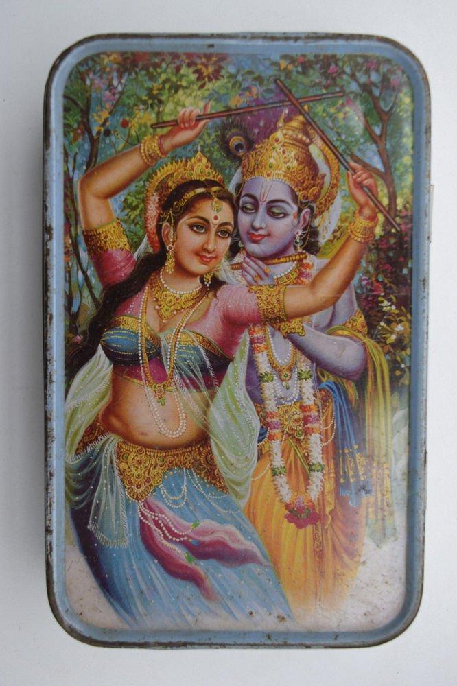 Old Sweets Tin Box, Rare Collectible Litho Printed Tin Boxes India #1438
