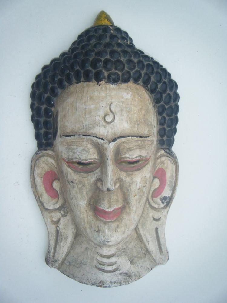 Buddha Wooden Mask, Old Rare Hand Coloured Handmade Original Indian Mask  #756