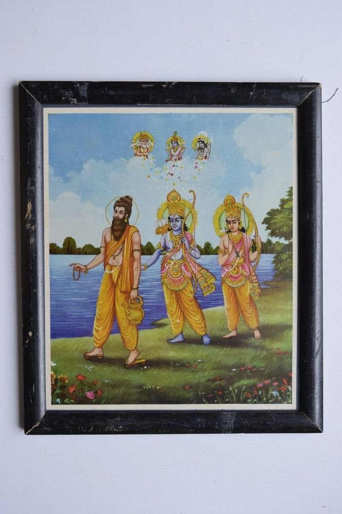 Lord Rama Ramayana Rare Old Religious Print in Old Wooden Frame India Art #3125
