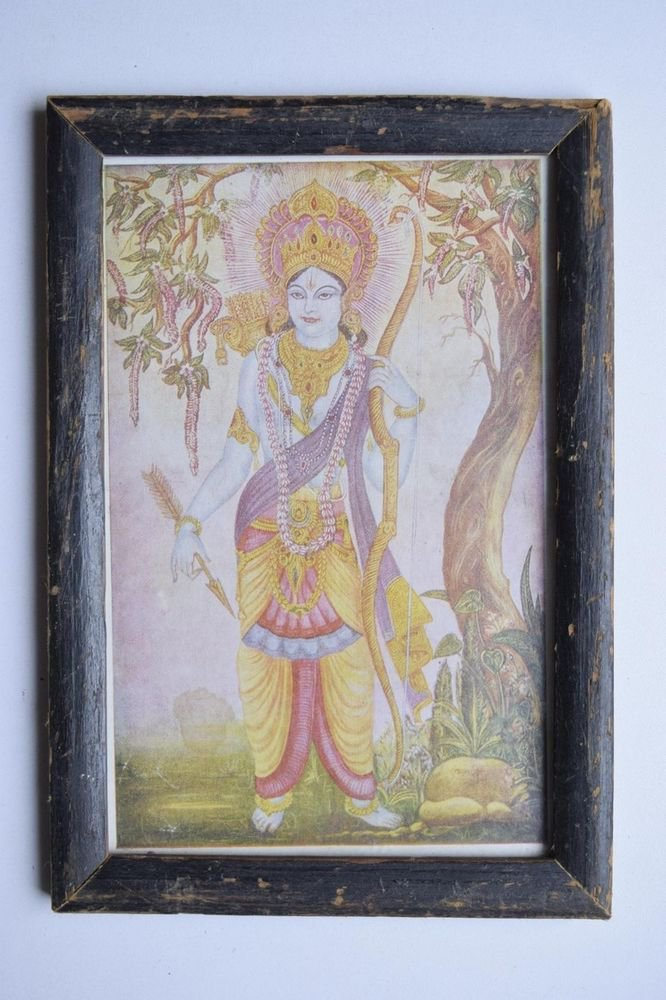 Lord Rama Ramayana Rare Old Religious Print in Old Wooden Frame India Art #3122