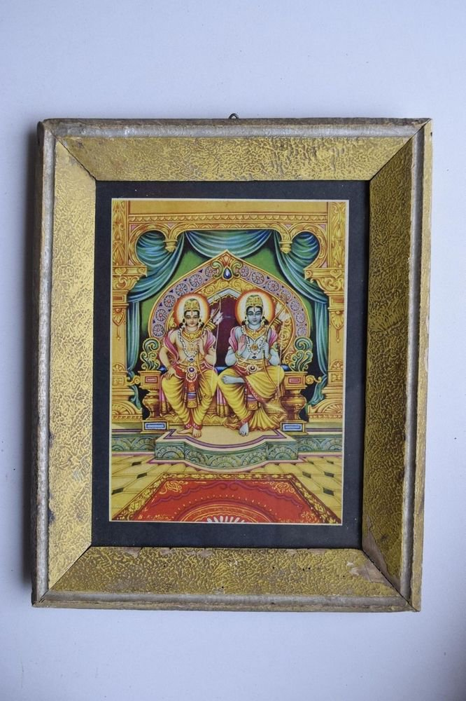 Lord Rama Ramayana Rare Old Religious Print in Old Wooden Frame India Art #3128