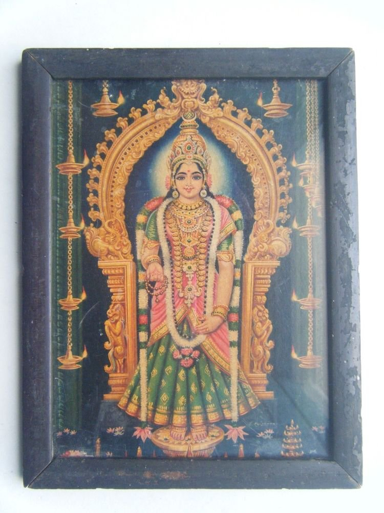 Goddess Meenaskshi Rare Old Religious Print in Old Wooden Frame India Art #2854