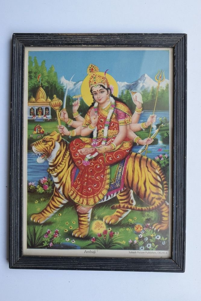 Goddess Amba Collectible Rare Old Religious Art Print in Old Wooden Frame #3334