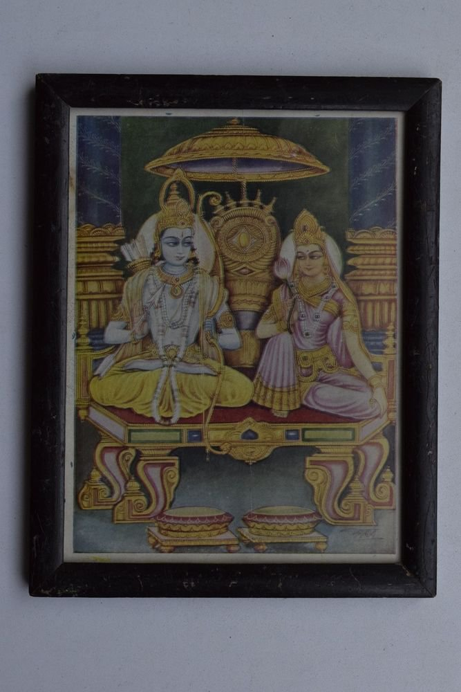 God Rama Sita Mata Rare Old Religious Print in Old Wooden Frame India Art #3243