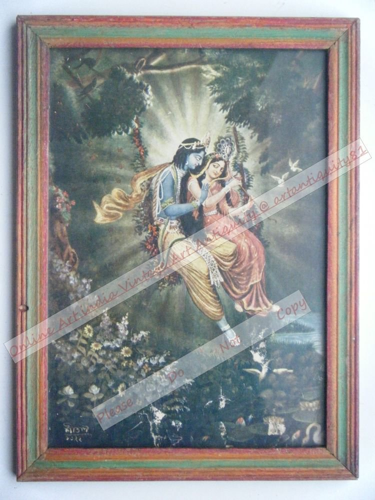 Hindu God Krishna Nice Old Religious Print in Old Wooden Frame India Art #2462