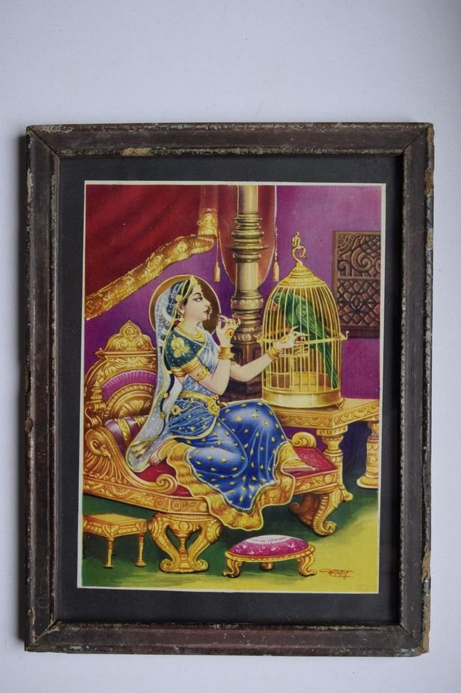 Beautiful Woman Collectible Rare Old Print in Old Wooden Frame India Art #3140