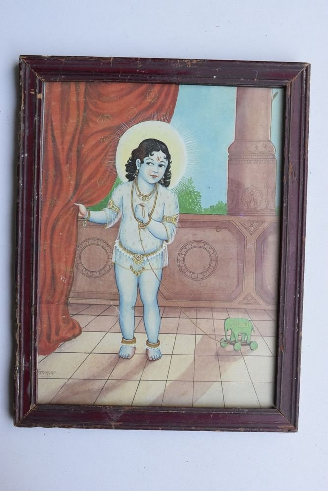 Krishna Collectible Rare Old Art Print in Old Wooden Frame from India #3298