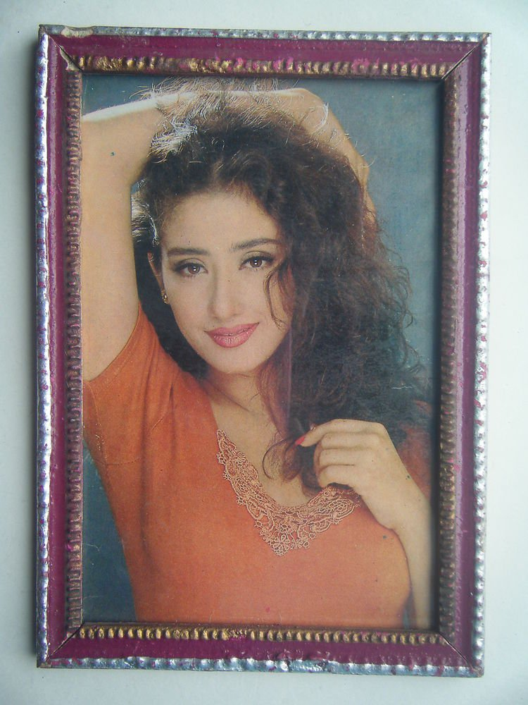 Bollywood Actress Heroin Collectible Old Print in Old Wooden Frame India #2739