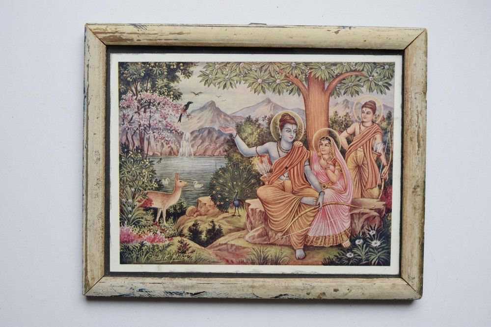 God Rama Ramayana Rare Old Religious Print in Old Wooden Frame India Art #3132