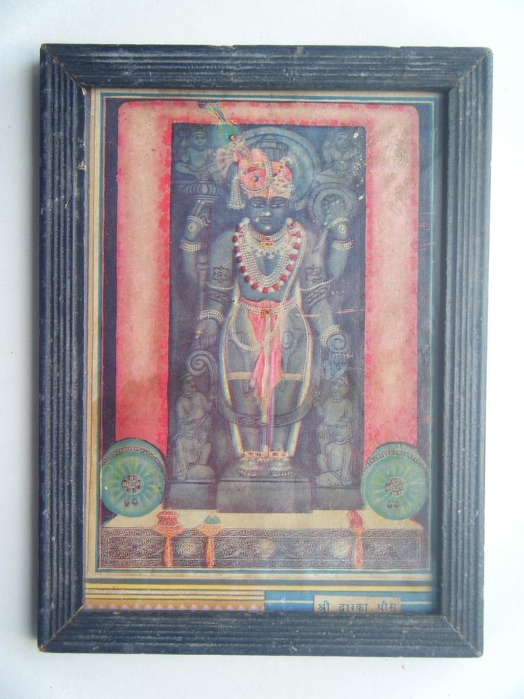 Shrinathji Krishna Dwaarkadhish God Old Print in Old Wooden Frame India #2752