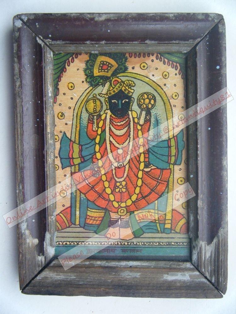 Shrinathji Krishna Avatar Home Worship Old Print in Old Wooden Frame India #2547