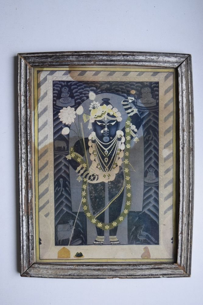 God Krishna Shrinathji Collectible Old Religious Print in Old Wooden Frame #3203