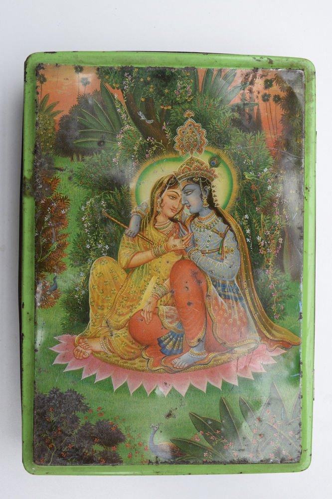 Old Sweets Tin Box, Rare Collectible Litho Printed Tin Boxes India #1441