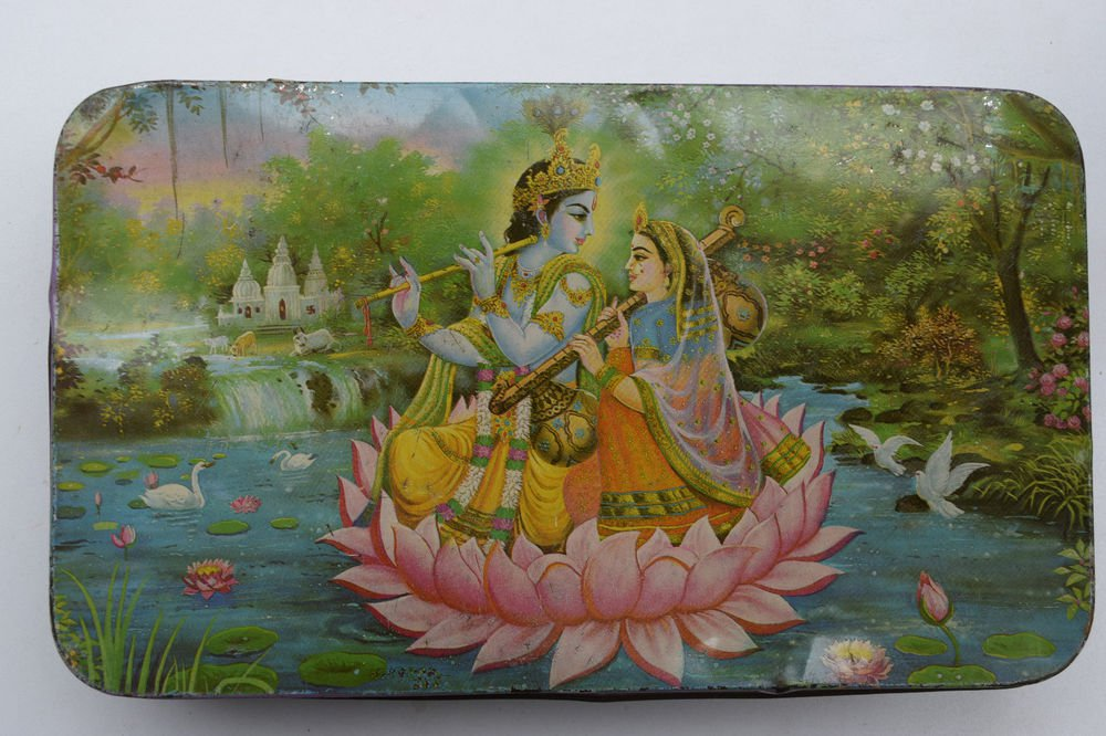 Old Sweets Tin Box, Rare Collectible Litho Printed Tin Boxes India #1442