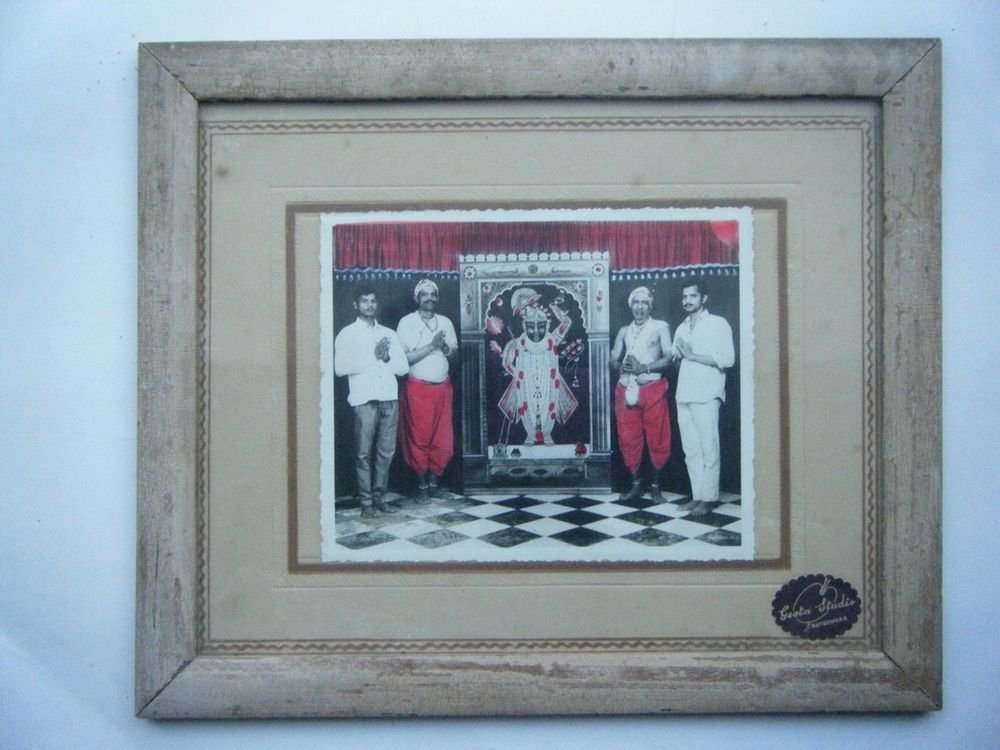Shrinathji Original Old Hand Coloured Photograph Photo in Old Wooden Frame #2674
