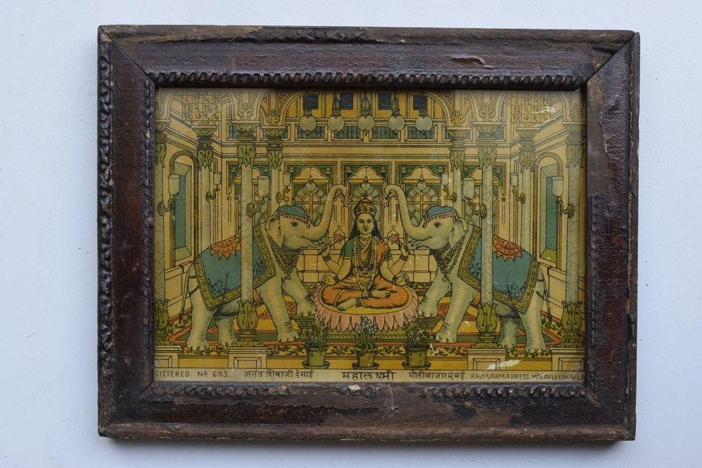 Wealth Goddess Laxmi Rare Old Religious Art Print in Old Wooden Frame #3353