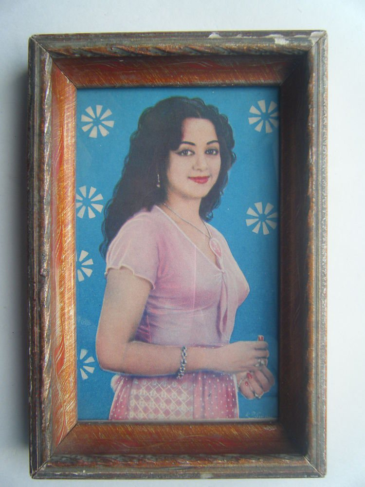 Bollywood Actress Heroin Collectible Old Print in Old Wooden Frame India #2749