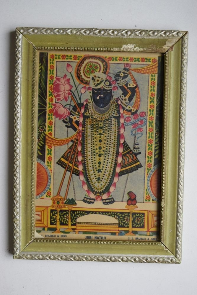 God Krishna Shrinathji Collectible Old Religious Print in Old Wooden Frame #3204