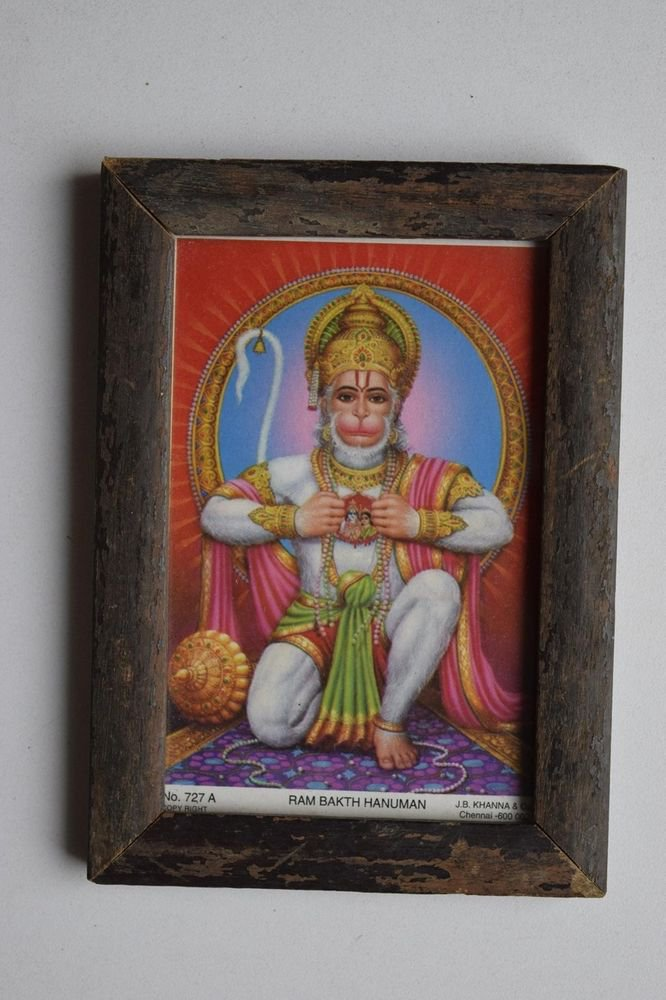 Monkey God Hanuman Collectible Original Print in Old Wooden Frame India #3150
