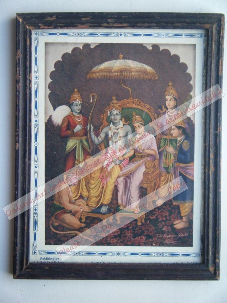 Hindu God Rama Ramayana Rare Print in Hand Coloured Old Wooden Frame India #2425