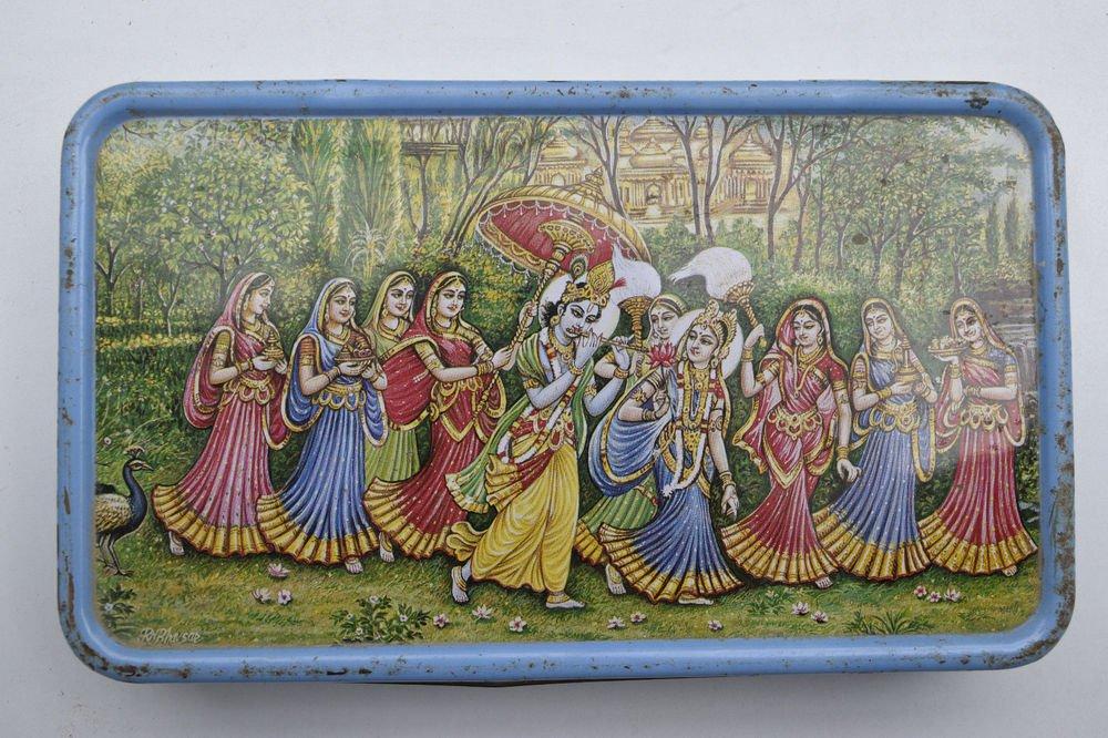 Old Sweets Tin Box, Rare Collectible Litho Printed Tin Boxes India #1446