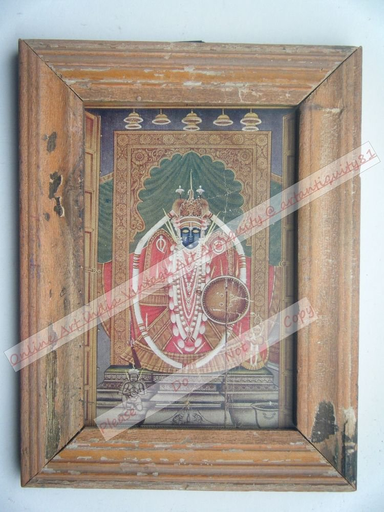 Shrinathji Krishna Avatar Home Worship Old Print in Old Wooden Frame India #2548
