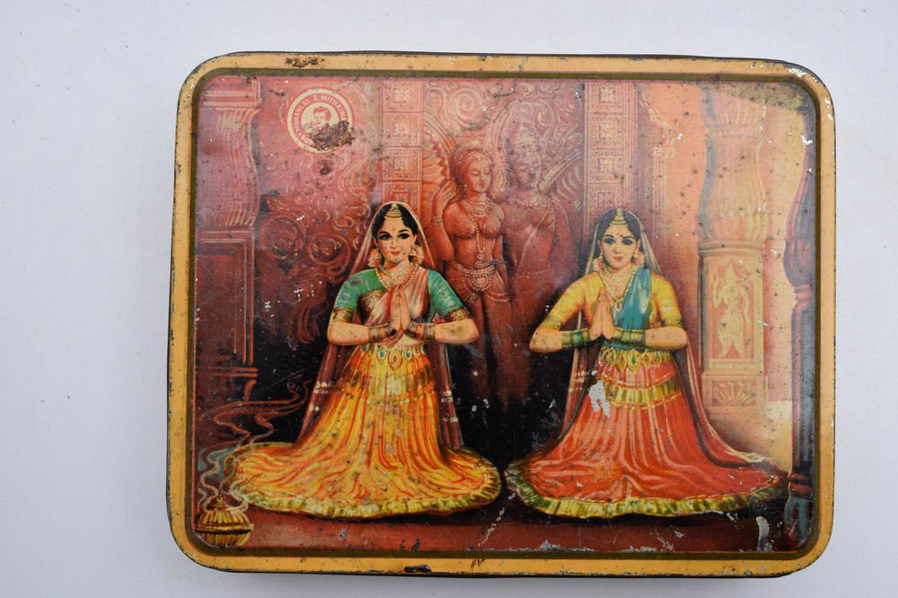 Old Sweets Tin Box, Rare Collectible Litho Printed Tin Boxes India #1469