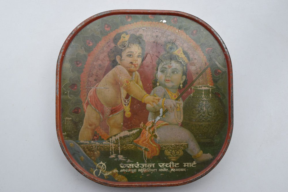 Old Sweets Tin Box, Rare Collectible Litho Printed Tin Boxes India #1453