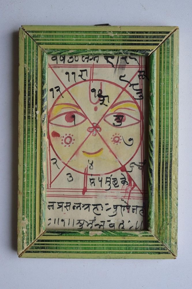 Nice Cosmology Hand Coloured Original Painting in Old Wooden Frame India #3064