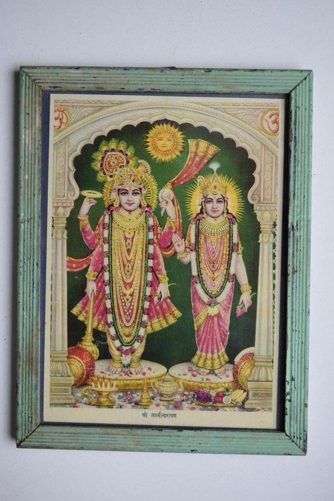 God Krishna & Radha Collectible Old Religious Print in Old Wooden Frame #3185