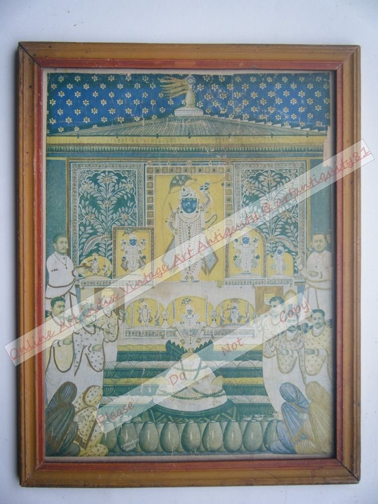 Shrinathji Krishna Avatar Home Worship Old Print in Old Wooden Frame India #2558