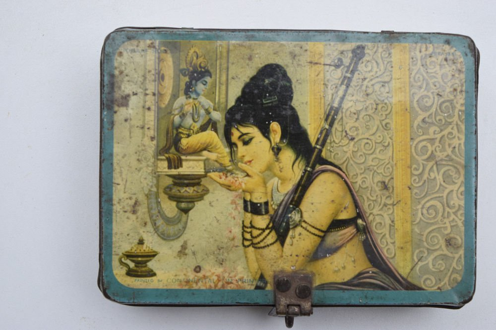 Old Sweets Tin Box, Rare Collectible Litho Printed Tin Boxes India #1451