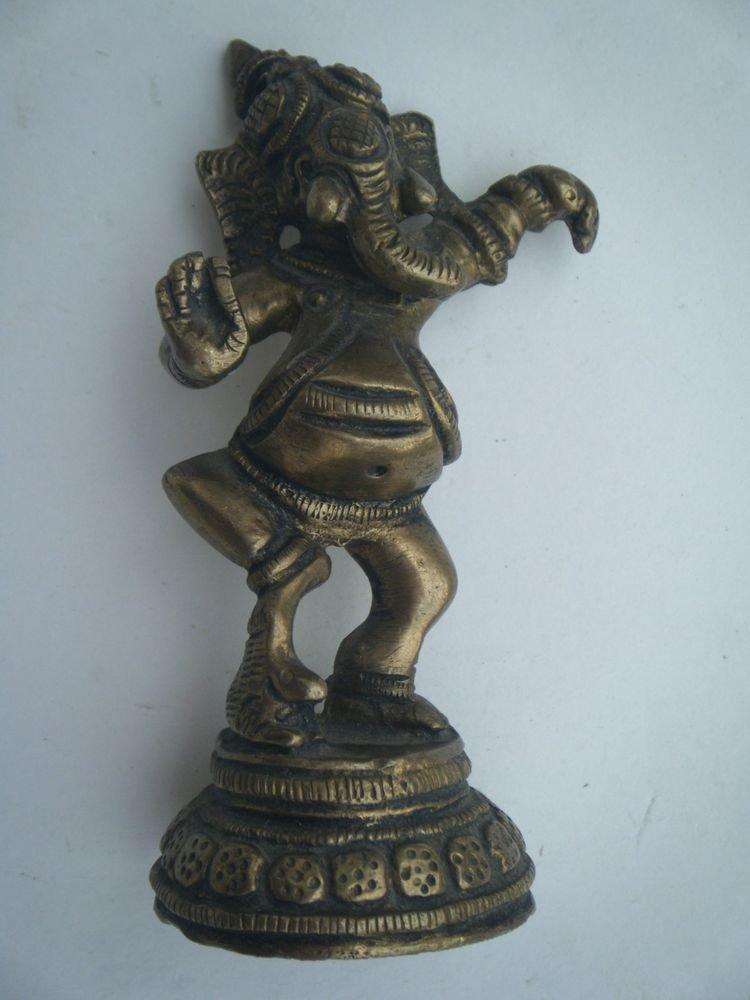 Collectible Dancing God GANESHA India Temple Worship Statue Brass Elephant #726