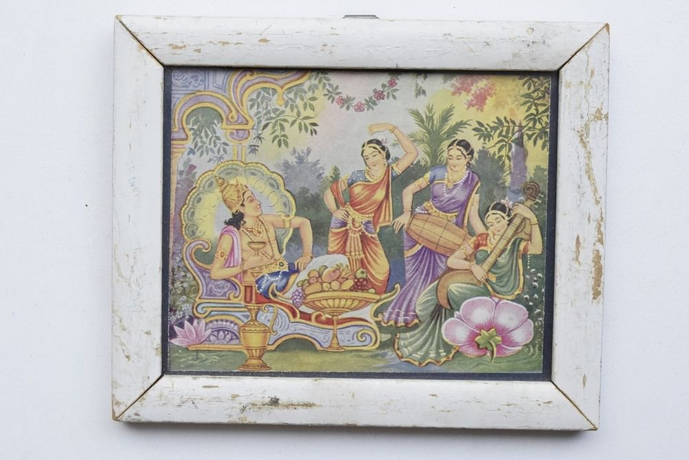 Hindu God Rare Collectible Rare Old Religious Print in Old Wooden Frame #3269