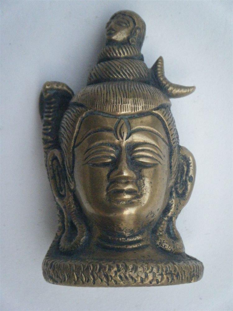 Brass Shiva Head Antique Statue Rare Collectible Artifact India Hindu God #877