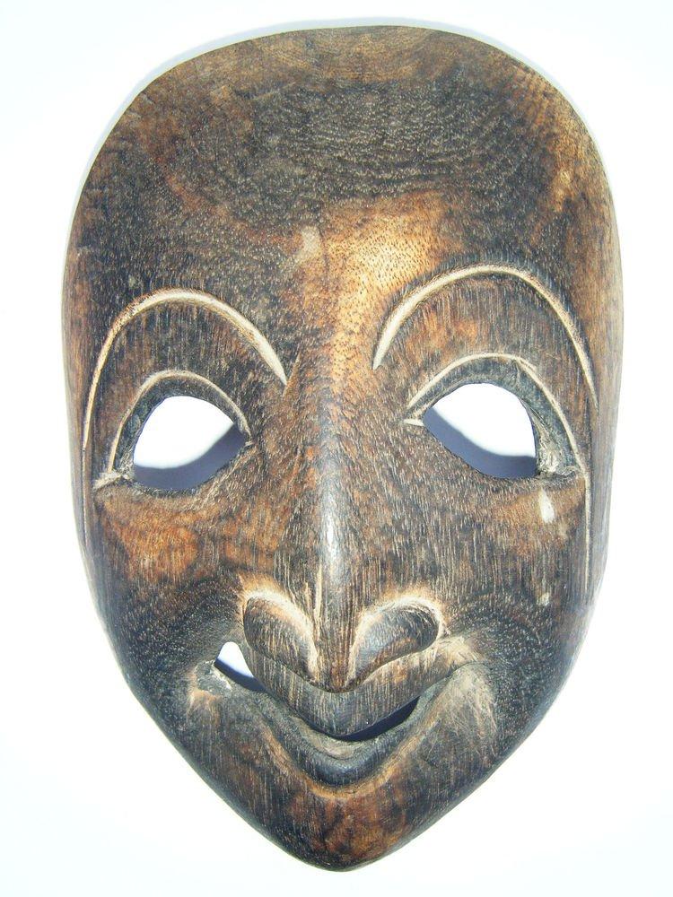 Tribal Wooden Mask, Old Rare Hand Coloured Handmade Original African Mask  #1594