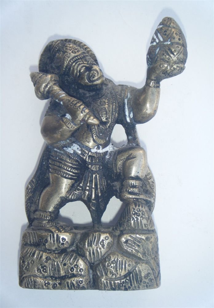 Brass HANUMAN Statue Antique  Collectible Artifact India Hindu Monkey God #974