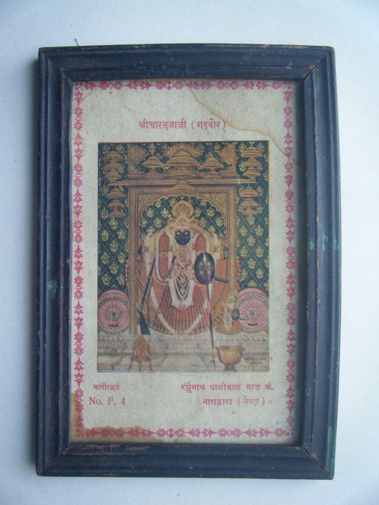 Hindu God Shrinathji Krishna Avatar Old Print in Old Wooden Frame India #2756